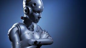 Robot kobieta, fantastyka naukowa kobiety sztuczna inteligencja ilustracja wektor
