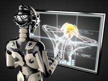 Robot kobieta manipuluje holograma displey Obraz Stock
