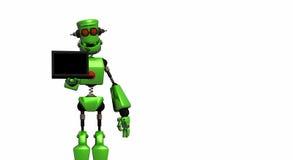 Robot with labtop Stock Photos