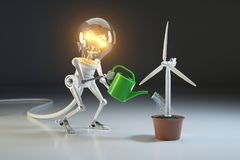 Robot lamp watering wind generator in a pot. The concept of envi Stock Photography