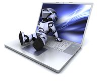 Robot and laptop. 3D Render of a robot relaxing on a  laptop Stock Photography