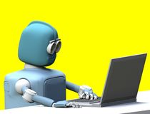 Robot with laptop 3d render. The robot with laptop.3d render vector illustration