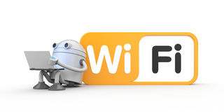 Robot with a laptop, sitting by leaning on the wifi sign. 3d illustration Stock Photography