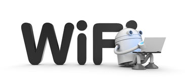 Robot with a laptop, sitting by leaning on the wifi sign Royalty Free Stock Images