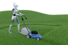 Robot with Lawnmower Stock Image