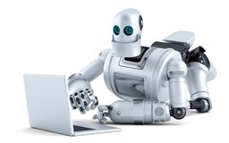Robot laying on floor with laptop. Isolated. Contains clipping path Stock Image