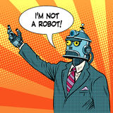 Robot leader politician. Pop art retro style. I am not a robot. The lies and deception. Political election candidate stock illustration
