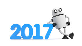 Robot leaning on 2017. 3d illustration Stock Photos