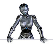 Robot Leaning on Edge. 3D render of a female robot, leaning on an edge royalty free illustration