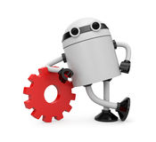 Robot leaning on a gear Stock Photos