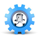 Robot leaning on a gear Royalty Free Stock Photos