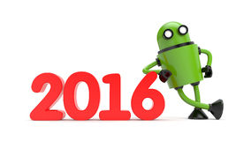 Robot leaning on 2016 Stock Photos