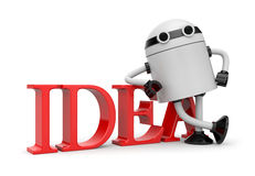 Robot leaning on idea Royalty Free Stock Photos