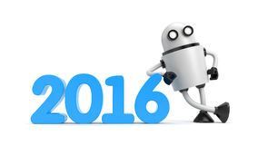 Robot leaning on 2016 Royalty Free Stock Photos