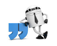 Robot leaning on a quote Stock Images