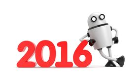 Robot leaning on 2016 Royalty Free Stock Photo