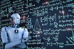 Robot learning or solving problems Royalty Free Stock Photography