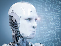 Robot learning or solving problems Stock Images