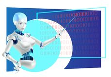 Robot lecturer or cyborg teacher standing in front of board with a pointer stock illustration