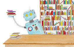 Robot librarian. Royalty Free Stock Photos