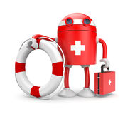 Robot with lifebuoy Stock Photo