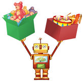 Robot lifting boxes with teddy bears and instruments Royalty Free Stock Images
