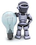 Robot with a light bulb. 3D Render of a Robot with light bulb Royalty Free Stock Photography