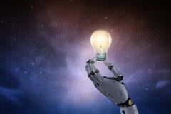 Robot with lightbulb stock image