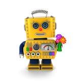 Robot lindo del vintage que envía un conseguir deseo bien Imágenes de archivo libres de regalías