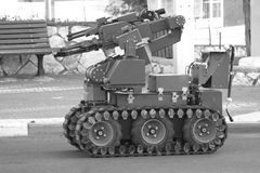 The robot for liquidation of mines and bombs. The special robot intended for sappers Stock Images