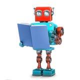 Robot lisant un livre illustration 3d avec le chemin de coupure illustration de vecteur