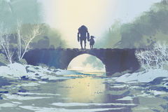 Robot and little girl standing on bridge in winter. Digital art style, illustration painting Stock Image