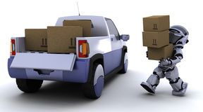 Robot loading boxes into the back of a truck Stock Image