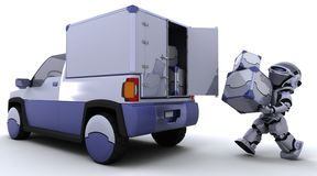 Robot loading boxes into the back of a truck Royalty Free Stock Images