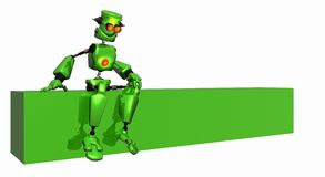 Robot with logo banner Royalty Free Stock Photo