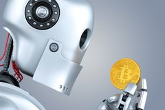 Robot looking at bitcoin coin in his hands. 3D illustration. Con Stock Photos