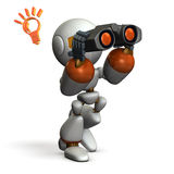 Robot, looking for something with binoculars. Royalty Free Stock Photography