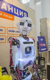 The robot looks carefully and kindly. The robot at the exhibition on robotics in Moscow, may 2015 stock photos
