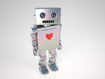 Robot in Love. A little robot with big heart Stock Image