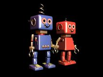 Robot love black background isolated Stock Illustration