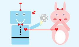 Robot in Love royalty free stock photo