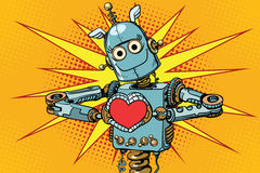 Robot lover with a red heart, symbol of love. Pop art retro vector illustration Royalty Free Stock Images