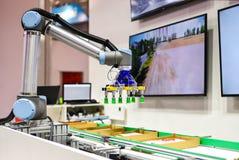 Robot mécanique avec des produits de sortes d'intelligence artificielle sur le convoyeur photos stock