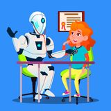 Robot médico que trata un vector paciente Ilustración aislada