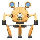 Robot métallique jaune avec l'icône dessinée trois par jambes illustration de vecteur
