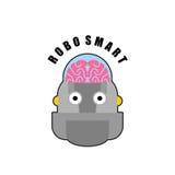 robot mądrze Emblemat biomechanika ludzki mózg Logo dla wewnątrz Zdjęcia Royalty Free