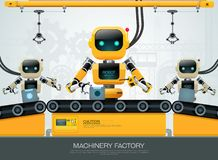 Robot machine artificial intelligence technology smart industrial 4.0 control. Vector illustration stock illustration