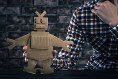 Robot made of paper royalty free stock photos