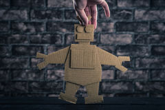Robot made of paper stock photo