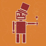 Robot magician vector illustration. Vector illustration of Robot magician with the magic wand. Flat image in vintage syle on the orange background Royalty Free Stock Photography